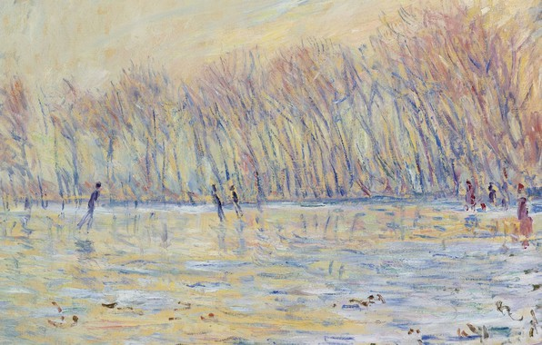 Picture landscape, picture, Claude Monet, Claude Monet, The skaters at Giverny
