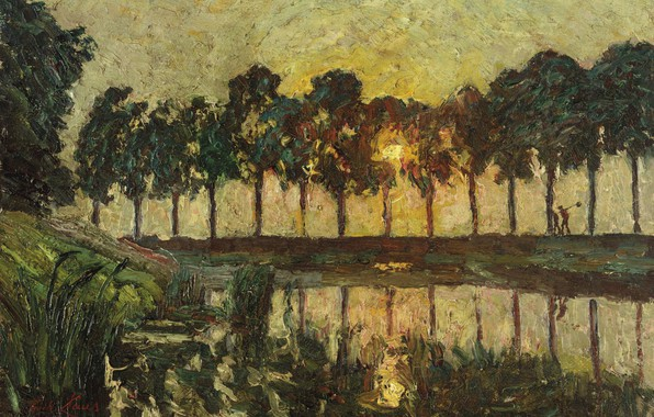 Picture landscape, sunset, picture, Emile Claus, Tree at the lake