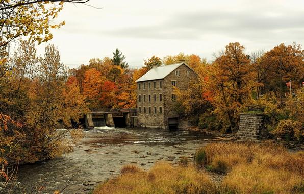 Picture autumn, trees, bridge, house, yellow, Canada, river, Ottawa, Manotick