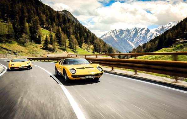 Picture Auto, Road, Lamborghini, Machine, 1971, Lights, Landscape, Car, LP700-4, Aventador, Lamborghini Aventador, Supercar, Lamborghini Miura, …