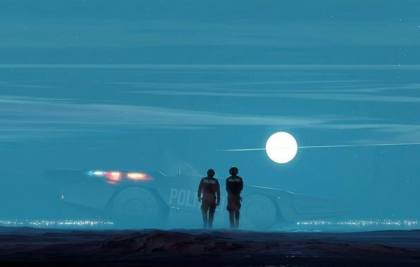Picture the sun, fiction, desert, police, art, tank, sphere