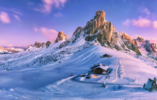 Picture snow, mountains, house, Paint your life