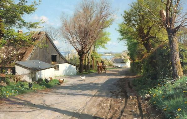 Picture Danish painter, 1921, Peter Merk Of Menstad, Peder Mørk Mønsted, Danish realist painter, overlooking Roskilde …
