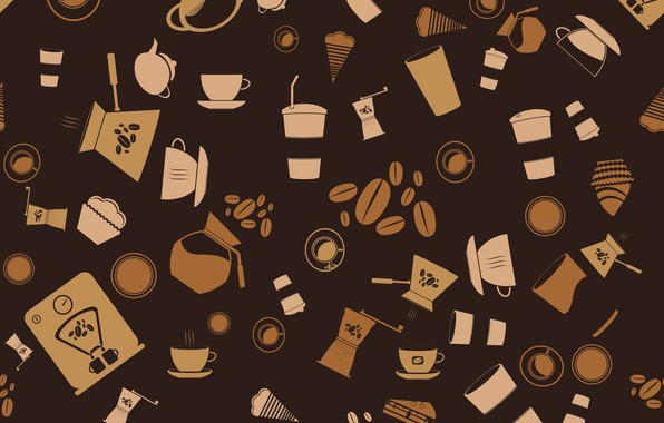 Picture background, vector, coffee, vector, texture, background, pattern, coffee, seamless