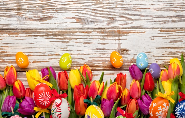 Picture colorful, Easter, tulips, happy, wood, flowers, tulips, spring, Easter, eggs, holiday, the painted eggs