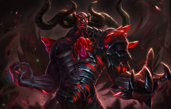 Picture the demon, art, horns, crystal, Heroes of Newerth, Apex