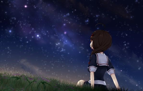 Wallpaper The Sky, Night, Stars, Anime, Art, Girl, Kantai