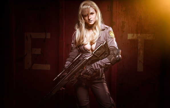 Photo wallpaper girl, gun, weapon, woman, sniper, Metal Gear Solid, cosplay, blonde, rifle, oppai, Foxhound, uniform, seifuku