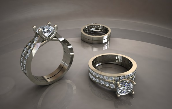 Picture reflection, diamonds, grey background, rings, white gold, glitter metal, twinkling gems