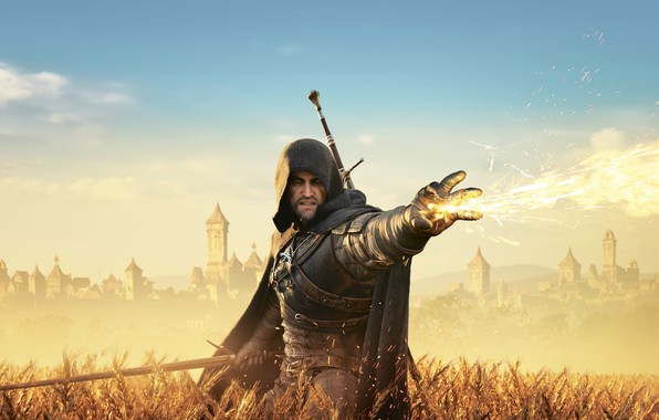 Picture field, the city, flame, The Witcher, Herald, The Witcher 3: Wild Hunt, The Witcher 3 …