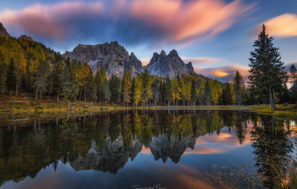 Picture autumn, forest, the sky, trees, mountains, nature, lake, reflection