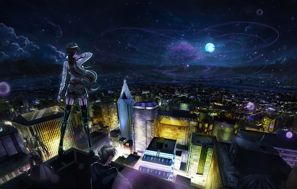 Picture the sky, stars, clouds, night, the city, girls, the moon, home, anime, art, guy