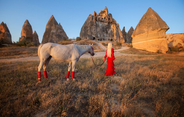 Picture girl, mood, rocks, horse, red dress