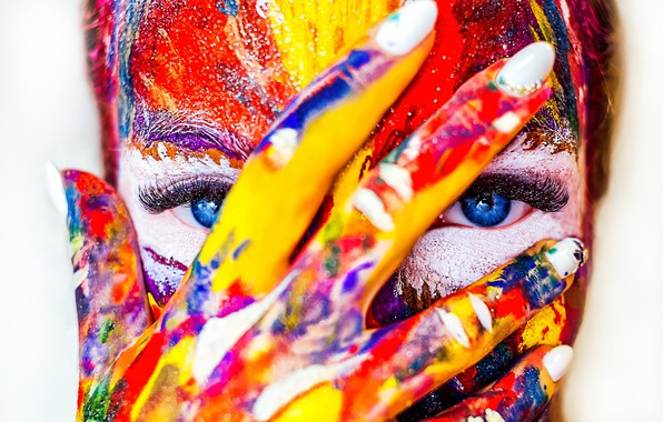 Picture eyes, girl, face, paint, hand, fingers
