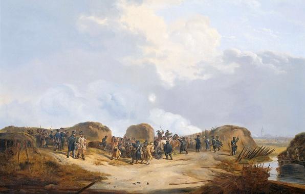 Picture oil, picture, canvas, Pieter Gerardus van OS, In the Siege of Naarden