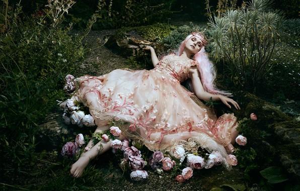Picture girl, flowers, pose, style, mood, sleep, dress, sleeping, Bella Kotak, Jodi Lakin