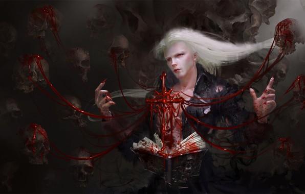 Picture blood, vampire, skull, spell, red eyes, art, vampire, warlock, black magic, Yi Ren