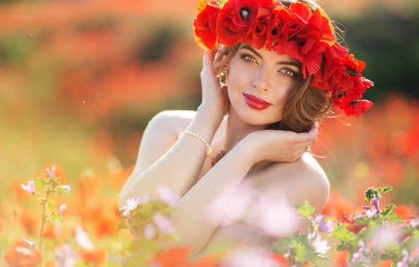 Picture field, summer, look, girl, flowers, hands, makeup, hairstyle, wreath, photoshoot, red poppies