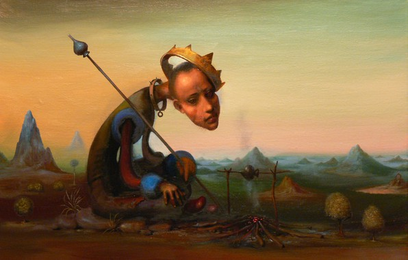 Picture crown, peak, Surrealism, Lazarev I. A, King of spades, dog collar with spikes