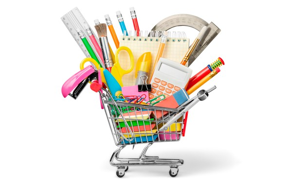 Picture pencils, white background, Notepad, truck, scissors, brush, the compass, clip, eraser, calculator, kontselyariya, marker, stapler, …