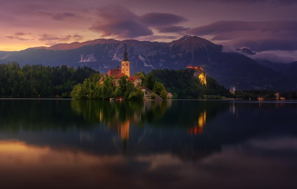 Picture summer, clouds, mountains, lake, the evening, morning, Bled, Bled lake, Church Of The Assumption Of ...
