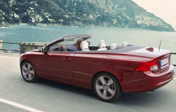 Picture road, sea, Volvo, convertible, C70, Volvo C70