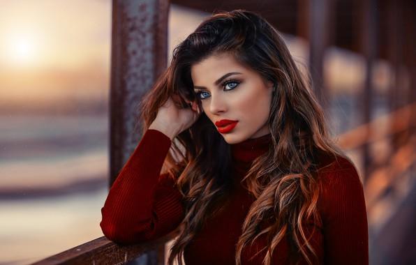 Picture girl, long hair, photo, photographer, blue eyes, model, bokeh, lips, face, brunette, portrait, mouth, close …