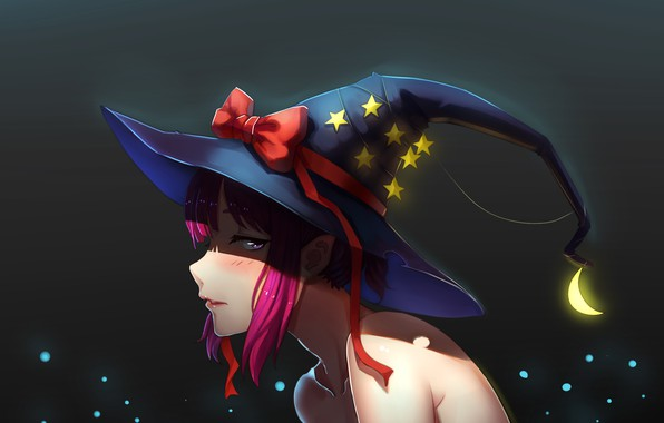 Picture girl, hat, profile