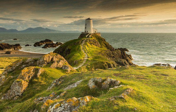 Photo wallpaper Sea, Rocks, Lighthouse, Shore