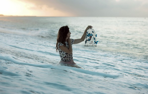 Picture sea, girl, butterfly