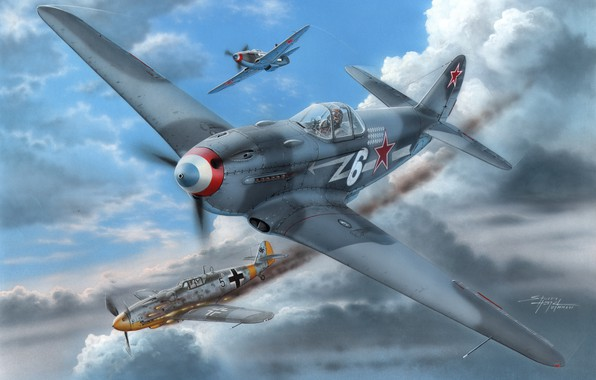 Picture art, The great Patriotic war, fighter-monoplane, The second World war, The Yak-3, Normandie-Niemen, piston fighter, …