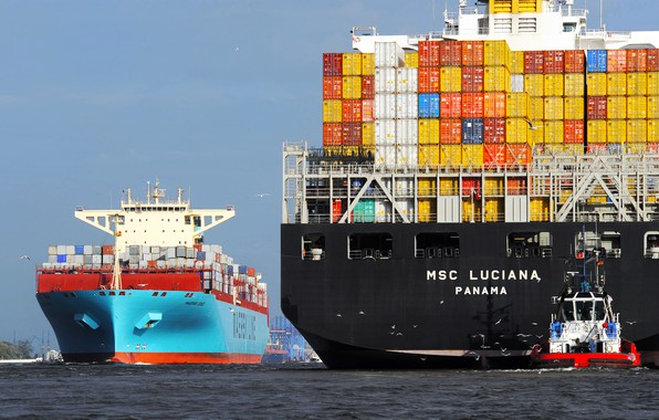 Picture Board, The ship, Line, Cargo, A container ship, Essex, Two, Container, Maersk, MSC, Maersk Line, …