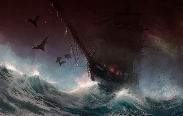 Picture dark, fantasy, storm, rain, sea, art, painting, ship, digital art, artwork, bats, sail, Sailboat, stormy …