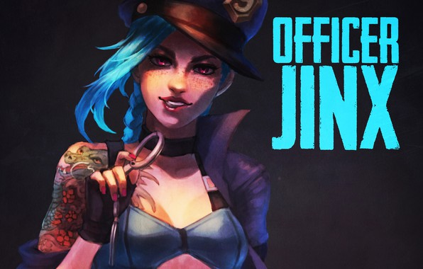Picture girl, art, lol, league of legends, jinx, Officer, the loose cannon