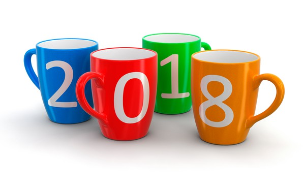 Picture orange, blue, red, holiday, Christmas, figures, white background, New year, green, mugs, colorful, 2018, four