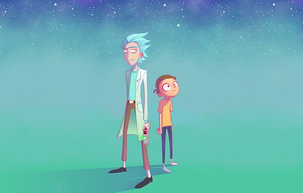 Picture eyes, space, stars, yellow, jeans, hairstyle, space, madness, scientist, Rick, Rick and Morty, Rick, Morty, ...