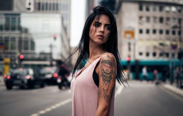 Picture city, girl, green eyes, long hair, photo, photographer, model, street, tattoo, bokeh, lips, face, brunette, …