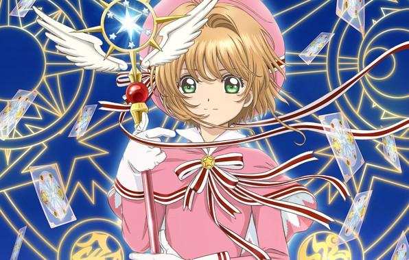 Picture look, wings, angel, anime, girl, Card Captor Sakura, pentagram, Sakura - collector cards