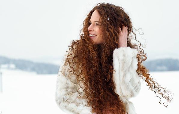 Picture girl, smile, mood, hair, curls, Eikonas, Katja Purtscheller