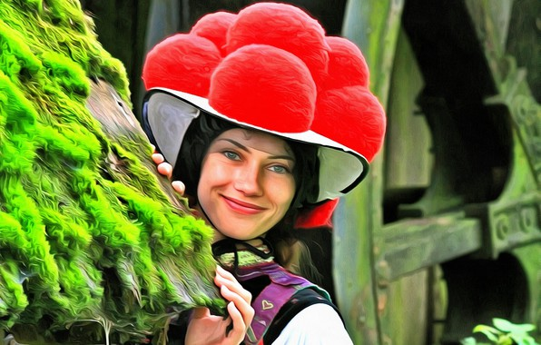 Picture girl, hat, The black forest, national costume
