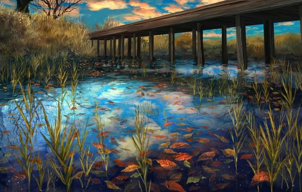 Photo wallpaper lake, autumn, leaves