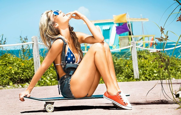 Picture girl, shorts, long hair, legs, breast, model, lips, face, tits, blonde, body, skateboard, chest, sitting, …