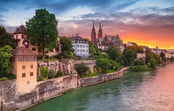 Picture sunset, river, building, home, Switzerland, Switzerland, the Rhine river, Basel, Basel, Rhine River, Aeschenpl
