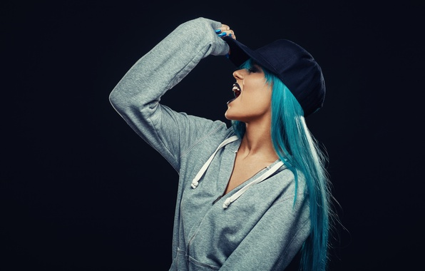 Picture model, Hat, blue hair