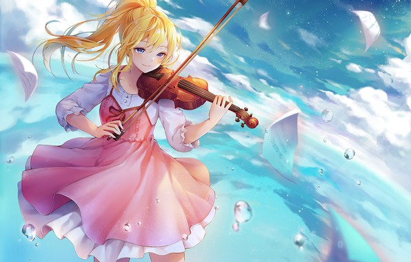 Picture look, girl, violin, anime, Shigatsu wa Kimi no Uso