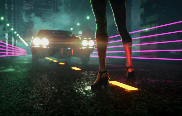 Picture Auto, Night, Music, Neon, Machine, Light, Shoes, Lights, Feet, Electronic, Synthpop, Darkwave, Synth, Retrowave, Synth-pop, …