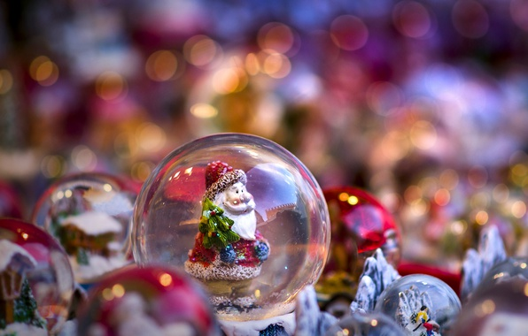 Picture toys, ball, Santa Claus, Santa Claus, bokeh