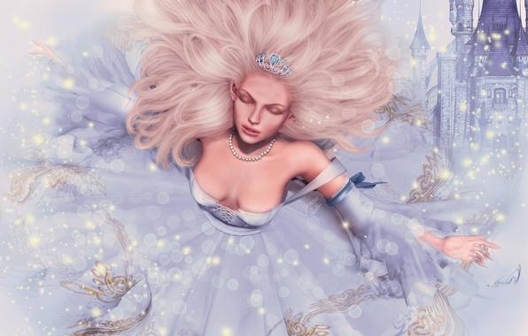 Picture girl, face, castle, hair, tale, dress, Princess