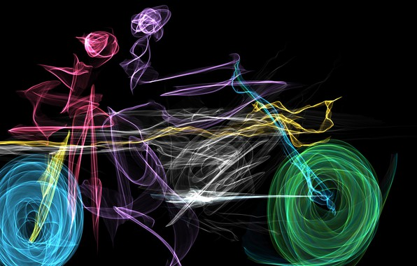Picture colors, colorful, Art, motorcycle, people, rendering, digital art, black background, color wheel