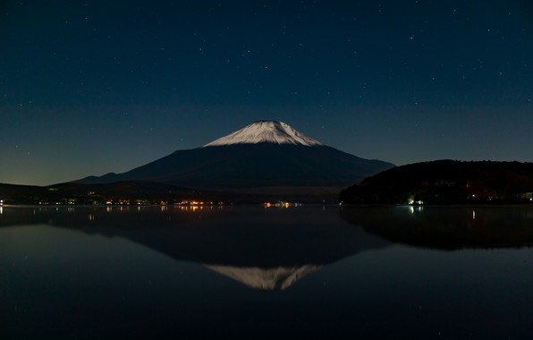 Photo wallpaper mountain, stars, reflection, the sky, the volcano